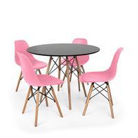 Kit Mesa Jantar Eiffel 90cm Preta + 4 Cadeiras Charles Eames - Rosa