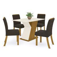 Conjunto Sala De Jantar Mesa 120cm Tampo Mdf 4 Cadeiras Juanita Casa 812