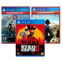 Combo De Jogos Ps4 - Red Dead Redemption 2 + God Of War + Watch Dogs 2