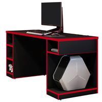 Mesa Para Computador Notebook Pc Gamer Destiny F01 Preto Vermelho - Lyam Decor