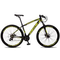 Bicicleta Aro 29 Spaceline Vega 21v Suspensão E Freio Disco - Preto/amarelo - 21''