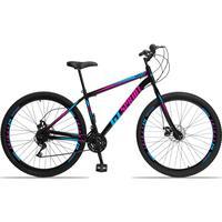 Bicicleta Aro 29 Gt Sprint Mx1. 21v Garfo Rigido Freio Disco - Preto/azul E Rosa - 19''