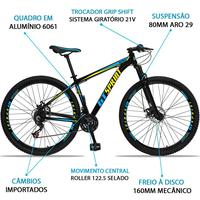 Bicicleta Aro 29 Gt Sprint Mx1 21v Suspensão E Freio A Disco - Preto/azul E Amarelo - 15´´ - 15´´