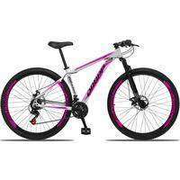 Bicicleta Aro 29 Dropp Aluminum 21v Suspensão, Freio A Disco - Branco/rosa E Preto - 19