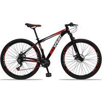 Bicicleta Aro 29 Gt Sprint Mx1 21v Suspensão E Freio A Disco - Preto/vermelho E Branco - 21´´ - 21´´