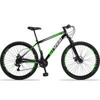 Bicicleta Aro 29 Gt Sprint Mx1. 21v Freio Disco E Suspensão - Preto/verde E Branco - 17''