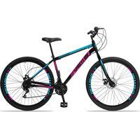 Bicicleta Aro 29 Spaceline Moon 21v Garfo Rigido Freio Disco - Preto/azul E Rosa - 19''