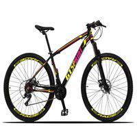 Bicicleta Aro 29 Gt Sprint Volcon 21v Suspensão, Freio Disco - Preto/amarelo E Rosa - 15''