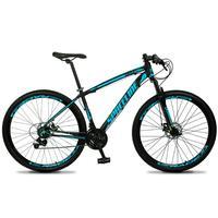 Bicicleta Aro 29 Spaceline Vega 21v Suspensão E Freio Disco - Preto/azul - 17''
