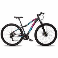 Bicicleta Aro 29 Dropp Flower 21v Suspensão E Freio A Disco - Preto/azul E Rosa - 15