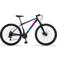 Bicicleta Aro 29 Gt Sprint Mx1. 21v Freio Disco E Suspensão - Preto/azul E Rosa - 17''