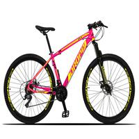 Bicicleta Aro 29 Dropp Z3x 21v Suspensão E Freio Disco - Rosa/amarelo - 15