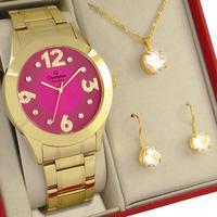 Relógio Feminino Champion Dourado Rosa Original 1 ano de garantia com colar e brincos
