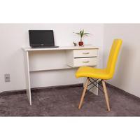 Kit Escrivaninha Com Gaveteiro Branca + 01 Cadeira Eiffel Gomos - Amarela