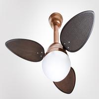 Ventilador De Teto Jet Venti-delta Cobre 3 Pás Rattan Chocolate 220v