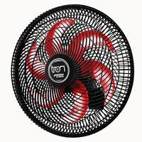 Ventilador Maggie Parede Preto Oscilante 127v Pás Vermelho