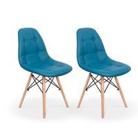 Kit 02 Cadeiras Dkr Charles Eames Wood Estofada Botonê - Turquesa