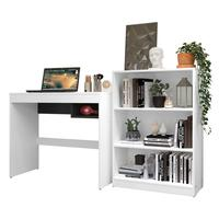 Escrivaninha Madesa Rubi + Estante Livreiro 6907 - Cor: branco