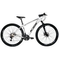 """Bicicleta Aro 29 Ksw 21 Marchas, Freios A Disco, K7 E Suspensão, Cor: branco/preto, Tamanho Do Quadro:19"""""""