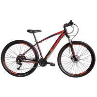 """Bicicleta Aro 29 Ksw 21 Marchas, Freios A Disco E Trava, Cor: preto/laranja e vermelho, Tamanho Do Quadro: 17"""""""