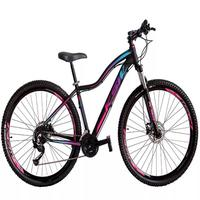 """Bicicleta Aro 29 Ksw 24 Marchas Freio Hidráulico E Suspensão Cor: Preto/Rosa E Azul, Tamanho Do Quadro: 17"""" - 17"""""""