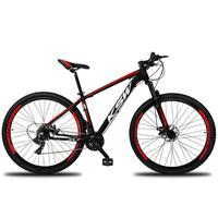 """Bicicleta Aro 29 Ksw 24 Marchas Shimano, Freios A Disco E K7 Cor: Preto/Vermelho E Branco, Tamanho Do Quadro:21"""" - 21"""""""