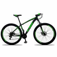 Bicicleta Aro 29 Ksw 24 Marchas Freios A Disco, K7 E Suspensão Cor:preto/verde tamanho Do Quadro: 15pol - 15pol