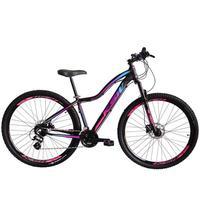 Bicicleta Aro 29 Ksw 21 Marchas Freios A Disco E Trava Cor: preto/rosa E Azul tamanho Do Quadro:17 - 17