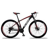 """Bicicleta Aro 29 Ksw 24 V Shimano Freio Hidraulico/trava/k7 Cor: preto/vermelho E Branco tamanho Do Quadro:21"""" - 21"""""""