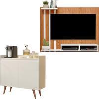 Kit Painel Para Tv 48 Polegadas Dubai Nature Com Off E Aparador Buffet 2 Portas Retrô Clean Off